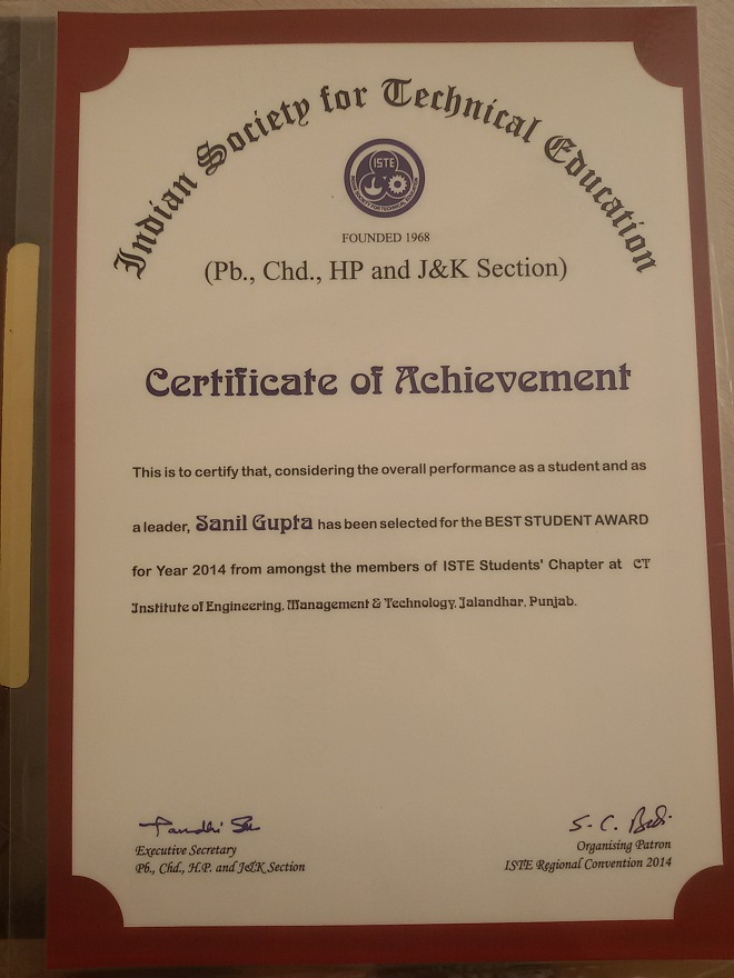 Ct group of institutions mr yasir zahoor btech cse ctiemt bagged iste section best project award 2014 for security assesment of website self developed tools yelopaper Choice Image